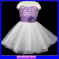 Girls' fashion sleeveless lace base group of roses bow tutu princess dress Evening group 9088