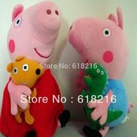 wholesale 10PCS 30CM Pepa Peppa Pig With Teddy Bear Soft Stuffed Plush Toy Gif Doll For Chiildren #2982