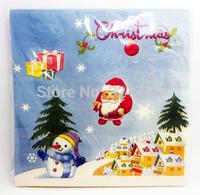Christmas Series Santa Claus Pattern Colored Paper Napkin Party Paper /100% Virgin Wood Napkin / 33X33CM 20PCS/Pack