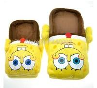 sponge bob slippers Figure cartoon plush slipper 11inch SPONGEBOB Squarepants indoor shoes
