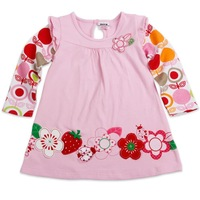 FREE SHIPPING F2275#  2013 fashion Baby girls long sleeve princess dress with beautiful flower embroidery and printing T shirts