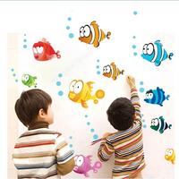 Wholesal 5Set/lot 160*80cm Colorful Fish&Bubble Kids Bedroom Vinyl Wall Decals Stickers For Children Bathroom Decor