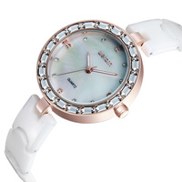 New 2014 Weiqin Luxury Rhinestone Ceramic Bracelet Women watch Japan Quartz Movement Luminous Wristwatch Crystal Watches WWL0055