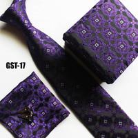 High fashion necktie set cufflink + hankie + gift box + striped cravat sets
