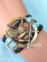 Free Shipping!6PCS/LOT!Retro Alloy Alloy Hunger Game Bird Charms Bracelet Vintage Fashion Mens Costume Handmade Jewelry S-824