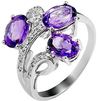 accessories 925 silver natural amethyst ring female fashion female sr0188a  amethyst jewelry