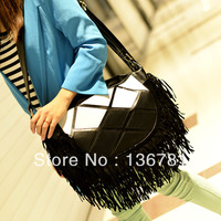 Women's handbag 2013 plaid PU tassel one shoulder side of the backpack crossbody messenger bag cross-body bag black