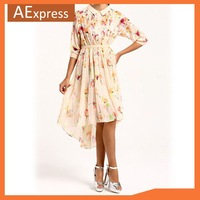 Free Shipping 2013 Summer Dresses New Fashion Irregular Dress with Floral Print Half Sleeve, Pleated Chiffon Women Dress