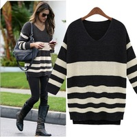 Free Shipping 2013 Hot Sale New Women's Fashion Autumn Winter apparel knitted Patchwork Plus Size V-neck Pullovers Sweater 305