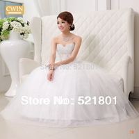 ball gown wedding dresses with crystal weddings bandage paillette tube top lace wedding dress new 2014 vestido de noiva fashion