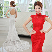new 2014 lace princess bride racerback fish tail long trailing mermaid wedding dresses wedding dress 2014 bridal gown sexy