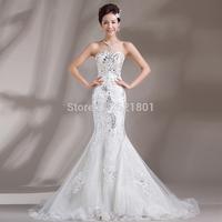 new 2014 sexy mermaid wedding dress tail luxury crystal decoration wedding gowns lace wedding drsses fashion vestido de noiva