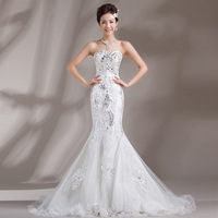 new 2014 sexy mermaid wedding dress tail luxury crystal decoration wedding gowns lace wedding drsses fashion vestido de noiva