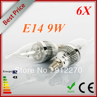 6pcs/lot  E14 E12 E27 B22 B26 9W  LED high power Dimmable Candle Light bulb lamp Downlight 110v 220v Gold and Silver