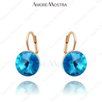Exquisite fashion Environmental 18K Rose Gold Plated Blue Stone Dangle Earring Shinning Austria Crystal Jewelry E009R2