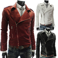 2013 New Autumn and Winter Multi Zippers  Large Lapel Man Slim Short Leather Jacket Fashion High Quality Brand Men's  Coat