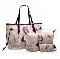 Ollady female pieces set bag 2014 womens big summer women picture package print one shoulder handbag