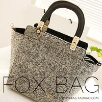 Woolen women bag designer handbag 2014 autumn and winter handbags bag grey woolen one shoulder handbag