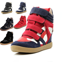 Korean tidal shoes spell color within the higher velcro woman winter  sport shoes casual high-top shoes boots