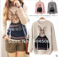 Wholesale Free Shipping Mr rabbit Sweaters 2013 women fashion color cheap winter swearter warm brand sweater women clothes