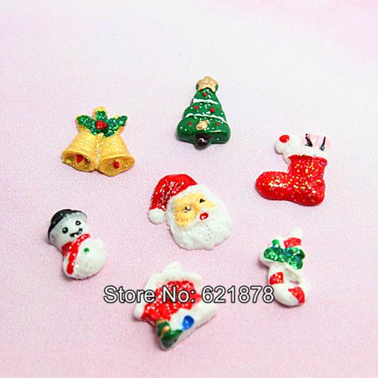 free shipping! wholesale 105pcs/lot mixed designs Christmas Theme Resin Flat back Cabochons for nail art ornament(China (Mainland))
