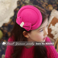2013 New fashion 10color Girl/Woman fascinator hats Woolen pearl bow hairpin/hair clips Cocktail bridal hair accessories FH9210