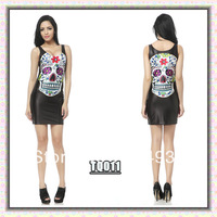 Free shipping, WOMEN DRESS ,Blackmilk skull dress skull elastic slim hip slim one-piece dress black and white print short skirt