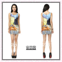 Blackmilk dress oil painting print basic vest one-piece dress female elastic slim sleeveless slim hip short skirt