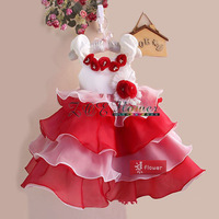 Retail 2013 new sleeveless Waist Chiffon Dress Girls Toddler 3D Flower Tutu Layered Princess Party flowers Kids Formal Dress