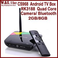 CS968 Quad Core RK3188 Android TV Box 2GB RAM 8GB ROM Microphone Camera AV Bluetooth RJ45 HDMI WIFI MINI PC Smart TV Box
