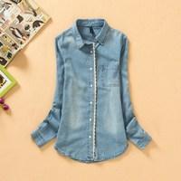 2014 New Fashion Star Women Elegant Lace Jeans Patchwork Shirt Womens demin Blouse S M L XL Retail/Wholesale Free Shipping