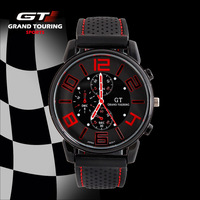 Grand Touring Military Watch 3colors Steel Case Sports Watches Round Dial Black Silicone Strap GT Casual watch