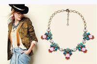 2013 Super Beatiful Luxury Flok Style EuropeanVintage Choker Necklaces With Pink Blue Crystal Stone Flower Jewelry for Women
