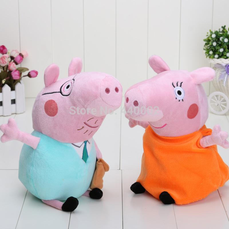 Varejo rígido lavagem Peppa George porco porco mamãe e papai porco de pelúcia boneca brinquedos de grande porte 11 polegada grátis frete(China (Mainland))