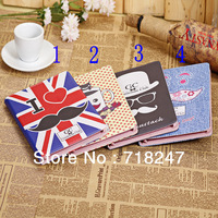 New Patterns Lovely Gentleman Mr. Mustache High Quality Leather Case For iPad 2 4 Flip Folio Case Stand Cover For New iPad 3