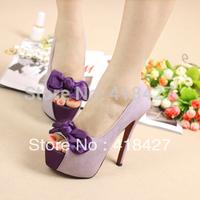 Women's pumps summer high-heeled ladys ultra high platform thin heels single shoes bowtie open toe pink/purple