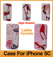New Arrival Multiple Leather & TPU Flip Case Cover For iPhone 5C,High-Heeled Shoes Style For Female,Free Shipping.