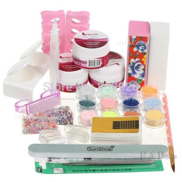 2015 New Pro 19 Item Nail Art Set Acrylic Powder Dust Rhinestone Decoration Buffer Tips Brush Cuticle Acrylic Nail Kit UO(China (Mainland))