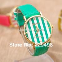 Free Shipping,Retail 2014 New Geneva Women's Watch,Good Quality Leather Strap Casual Girls Quartz Wrist Watch,Dress Watch