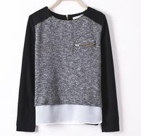 Free shipping  wholesale New Fashion Ladies' elegant  patchwork Knitted Pullovers Slim sweater O-neck Tops WC56