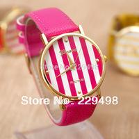 5 Pcs/Lot Wholesale 2014 New GENEVA Leather Strap Color Strips Dial Women Dress Watches,Quartz Wristwatch Free Shipping