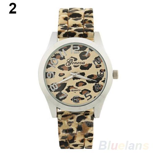 новые моды смотреть классический леопард печати дамы кварцевые часы женщин мужчин силиконовые платье часы 1oeq
