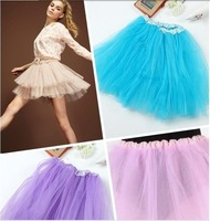 Hot 12 Colors Women Girl Pretty Elastic Stretchy Tulle Teen 3 Layer Adult Tutu Skirt Free Shipping