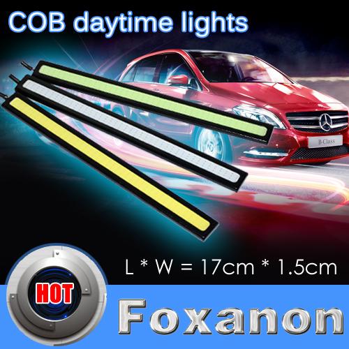 Foxanon 17cm 12V Daylight 15W COB Car LED DRL Waterproof Bumper Decorative Sticker Daytime Running Light Led Black 2pcs/lot(China (Mainland))