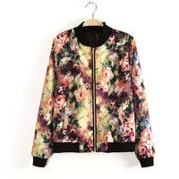 2014 women vintage baroque floral print zipper coat bomber jacket
