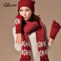 2013 autumn and winter new arrival faux yarn thermal knitted hat scarf gloves piece set