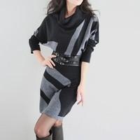 Winter One-piece Dress Women's Sweater Batwing Sleeve Slim Hip One-piece Dress Long Design Sweater Dress Free Shipping