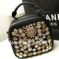 Free shipping 2013 fashion leopard head rivets diamond pentacle double zipper handbag shoulder bag woman bag