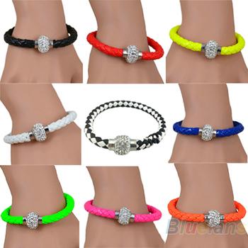 2014 Mix Leather Wrap Wristband Cuff Punk Magnetic Горный хрусталь Buckle Bracelet ...