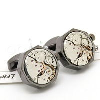 Watch  Cufflinks ,Black shell and silver  movement octagonal watch cufflinks.800937  men jewelry